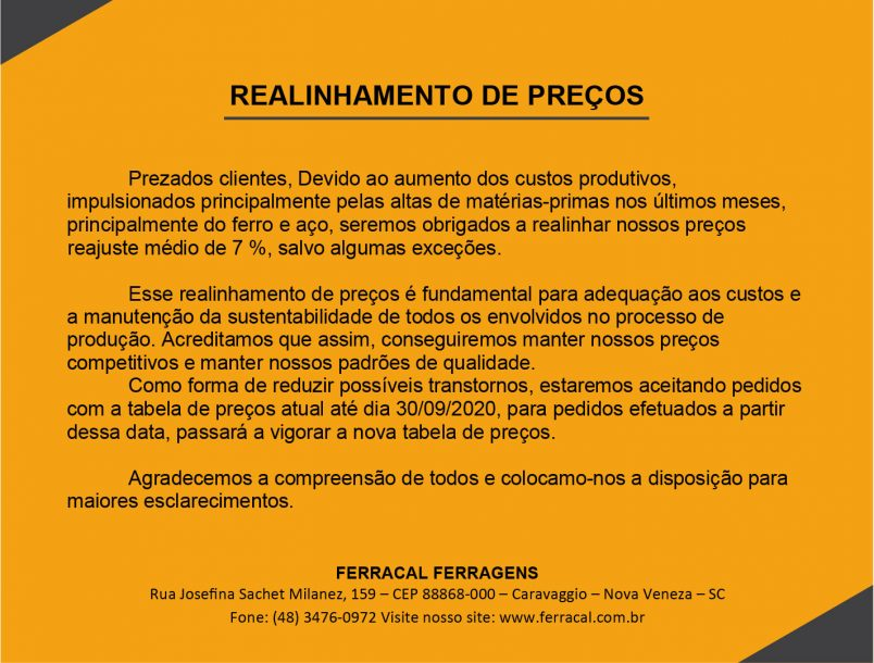 REALINHAMENTO DE PREÇOS!